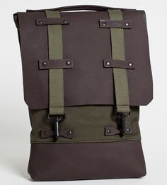 Olive Canvas & Brown Leather Backpack by Gundula on Scoutmob Shoppe