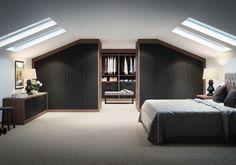 leuk idee maar donker Attic Master Bedroom, Attic Bedroom Designs, Attic Bedrooms, Attic Design, Bedroom Loft, Home Bedroom, Bedroom Decor, Interior Design, Bedroom Furniture