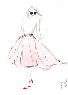 Watercolour fashion illustration Titled Pink Tulle