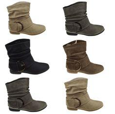 Neu Damen Stiefeletten Schlupf Stiefel Boots Schuhe Flach 36 - 41..