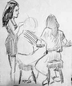 At the Bar. Pencil on Paper. Chuck Boyer