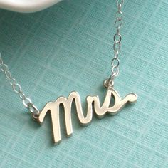 Mrs. Script Necklace, Sterling Silver, Cursive Mrs, Word Jewelry, New Bride, Bridal Shower Gift, Honeymoon, Just Married. $40.00, via Etsy.