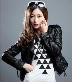 New 2014 Spring Women's Slim Plus Size Design Leather Short Motorcycle Jacket ST-JK025