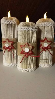 Merry Christmas wishes: These are really lovely festive - . Merry Christmas Wishes: These are really lovely festive – Source by m Old Book Crafts, Book Page Crafts, Newspaper Crafts, Christmas Crafts, Recycled Books, Magazine Crafts, Music Crafts, Merry Christmas Wishes, Book Folding Patterns