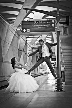 Photographe mariage à Lyon - Shooting à la gare et aéroport Saint-Exupéry - Studio Photo Gil