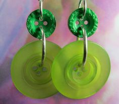 Items similar to Big Button Fashion Earrings, Bold Design on Etsy Green Earrings, Statement Earrings, Fashion Earrings, Fashion Jewelry, Bright Green, Handmade Gifts, Group, Button, Big