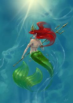Random painting! trying a new style and all that ^^ A sexy badass Ariel, with a trident. She's not the lovely Ariel from the movies anymore, she's now grown up, strong and confident. She still love...