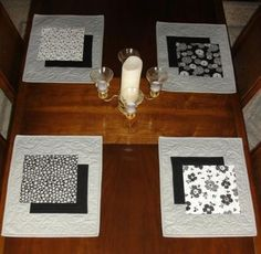 Ideas kitchen table placemats place mats for 2019 Grey Placemats, Modern Placemats, Table Runner And Placemats, Quilted Table Runners, Kitchen Placemats, Kitchen Mats, Place Mats Quilted, Black Furniture, Bedroom Furniture