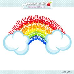 Handprint Rainbow Clipart - JW illustrations - #stpatricksday Hand Print rainbow graphic