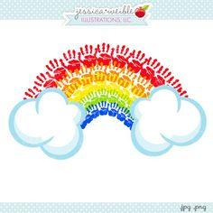 Handprint Rainbow Clipart - JW illustrations - #stpatricksday Hand Print rainbow graphic