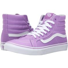 Vans SK8-Hi Slim (African Violet/True White) Skate Shoes ($33) ❤ liked on Polyvore featuring shoes, sneakers, purple, white leather high tops, purple sneakers, white high tops, leather sneakers and white shoes