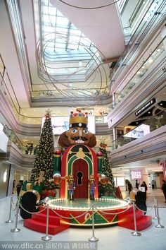 A mall displays the Nutcracker model to welcome the shopping seasons in Shanghai.