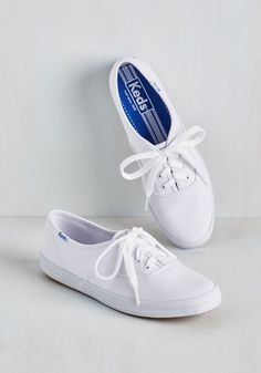 Back to the Basics Sneaker. Skip the sky-high platforms, and kick your day off with the classic cool that can only come from these basic white Keds! #white #modcloth