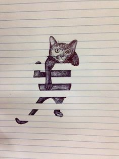 notebook cat illustration I don't even have a cat board, but I love this.