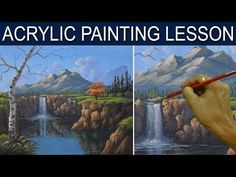 Acrylic Landscape Painting Tutorial The Waterfall in the Cliff Step by Step Real Time by JM Lisondra - YouTube