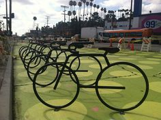 LADOT has installed the City's second-ever bike corral as a part of Living Street L.A.'s Sunset Triangle Plaza Pilot Project.