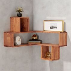 Building some DIY corner shelves might be a great idea for your next weekend project. Corner shelves are a smart solution for your small space. If you want to have shelves but you don't want to be too much on . Corner Shelf Design, Diy Corner Shelf, Floating Corner Shelves, Corner Wall Shelves, Wall Shelves Design, Wood Shelves, Corner Rack, Unique Wall Shelves, Bookshelf Design