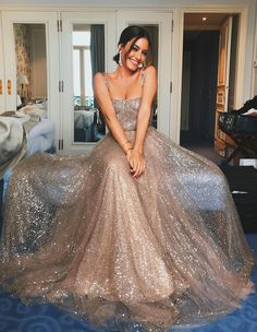 Classy Prom Dresses, 2019 Shiny A Line Sequence Long Prom Dress With Straps Prom Dresses Long Straps Prom Dresses, Backless Prom Dresses, Prom Party Dresses, Spaghetti Strap Dresses, Sexy Dresses, Formal Dresses, Spaghetti Straps, Dress Prom, Elegant Dresses