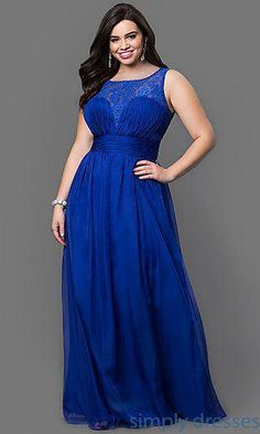 Royal Blue Sheer Cheap Plus Size Bridesmaid Dresses 2016 Lace Empire Waist Chiffon  Long Prom Dress Women Occasion Evening Gowns Formal Wear 3bfe52cd0be5