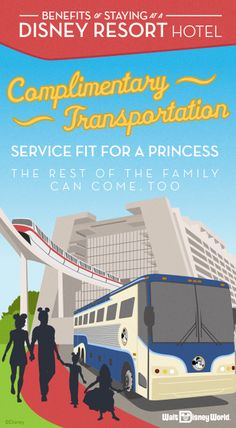 Complimentary transportation throughout Walt Disney World Resort—including transportation to and from Disney Theme Parks and Disney Water Parks—is available to Guests of select Walt Disney World Resort hotels.