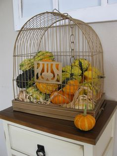 Great use for a vintage bird feeder.