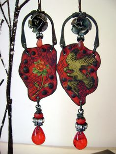He Softly Cooed Until He Won Her Heart recycled tin, assemblage earrings by Anvil Artifacts