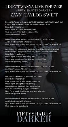 """Lyrics to """"I Don't Wanna Live Forever"""" by Zayn 