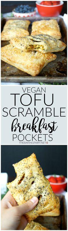 vegan tofu scramble breakfast pockets The Baking Fairy Vegan Foods, Vegan Dishes, Vegan Meals, Vegan Breakfast Recipes, Vegetarian Recipes, Vegan Breakfast Casserole, Tofu Breakfast, Breakfast Ideas, Mexican Breakfast