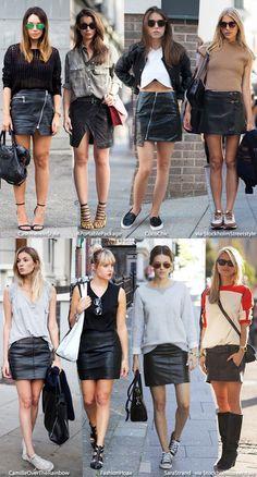 Black leather skirts street style.