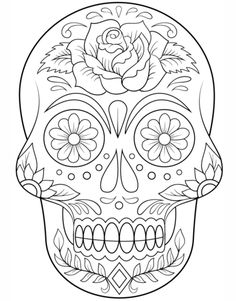 Sugar Skull With Flowers Coloring Page From Day Of The Dead Category Select 20883 Printable Crafts Cartoons Nature Animals Bible And Many More