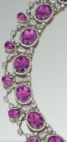 Necklace detail from an amethyst and diamond parure by Michael Youssoufian. The parure includes a necklace, ring, and pair of earrings. Via Diamonds in the Library.