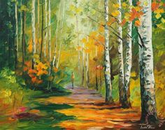 Forest Road Painting by Leonid Afremov