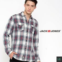 Young, free and vibrant. Shop this navy blue checked shirt by JACK & JONES.  #JACKANDJONES #CasualShirts #MODSTYL #Checkered #StreetStyle #Fashion #Shopping
