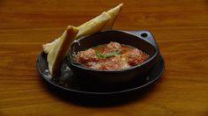 Aldo cooks up his classic, family meatball dish, with an authentic Napoletana sauce and toasty garlic bread on the side. MasterChef Australia, Season 10, Episode 30, Mystery Box, Italian