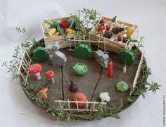 Купить Миниатюрный огород - овощи, игры для детей, фрукты, миниатюра, огород, полимерная глина, пластика