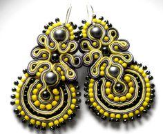 yellow and gray  soutache earrings   by KimimilaArt