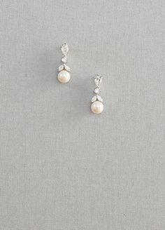 Leaf Shape, Diamante, Pearl Drop Earrings - Laure