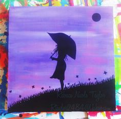 """Hope"" Girl holding an umbrella. Acrylic paint silhouette on a wood panel. To purchase, contact at rtaylor2484@Yahoo.com. Country girl, umbrella, purple nightscape, butterflies, free spirit, wild, boho hand painted."