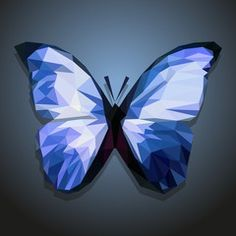polygonal blue butterfly on gradient background