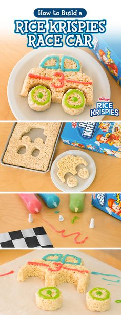 Ready, set, snack! Transform your kitchen table into a full-blown pit crew, using the simple no-bake recipe for homemade Rice Krispies Treats and some frosting. Let your kids customize their car with cool designs and get the whole family racing to the table.