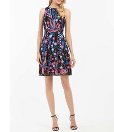 Nicole Miller New York Embroidered Fit-and-Flare Dress