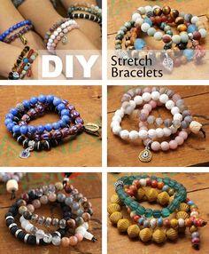 DIY your own stackable stretch bracelets diy jewelry making DIY Beaded Bracelets You Bead Crafts Lovers Should Be Making Diy Beaded Bracelets, Making Bracelets With Beads, Diy Necklace, Bracelet Making, Bracelets Crafts, Necklace Holder, Bracelet Box, Embroidery Bracelets, Mala Bracelet Diy