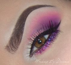 Pink and Purple eyeshadow #bright #dramatic #glitter #bold #eye #makeup #eyes