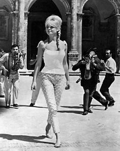 Brigitte Bardot in polka dot cigarette pants, tank top and her trademark Repetto ballet slippers, Spoleto, Italy, August 1961