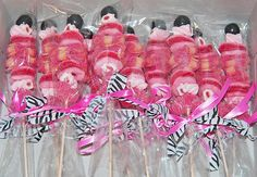 Candy kabobs made with pink candy and topped with a black gumball and tied with pink and zebra print ribbon. Zebra Print Party, Zebra Print Cakes, Pink Zebra Party, Barbie Birthday, Barbie Party, Birthday Party Favors, Birthday Parties, Birthday Ideas, Chocolates