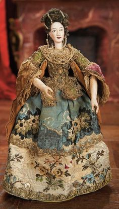 Flawlessness -- complete inspiration for the modern doll maker of period splendor as seen in miniature. Lot: Century Carved Wooden Dollhouse Lady with Original Coiffure and Costume Wooden Dollhouse, Wooden Dolls, Fabric Dolls, Paper Dolls, Marionette, Bjd, Half Dolls, China Dolls, Paperclay