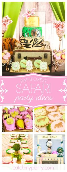Join us on this fantastic glam rainforest safari birthday party. The birthday cake is amazing!! See more party ideas and share yours at CatchMyParty.com