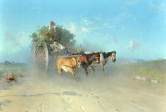 Uva Cesare (Avellino 1824 - Napoli 1886) Ritorno dai campi acquerello