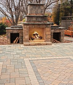 The Willow Creek Ledgestone Fireplace Kit is a stunning feature for your patio.