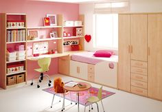 Cute Simple Kids Room Ideas for Girls by KIBUC: Cute Kids Bedroom Decoration In Pink Color With Compact Bed And Drawer Beside Large Cupboard And Unity Shelves And Desk With PC ~ tiyboc.com Teens Bedroom Inspiration